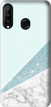 Initiale Marble and Glitter Blue Case for Huawei P30 Lite / Nova 4