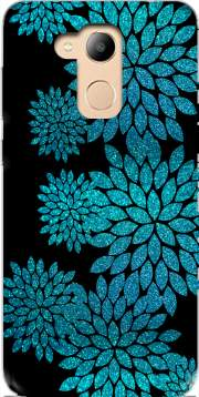 aqua glitter flowers on black Case for Honor 6c Pro / Huawei V9 Play