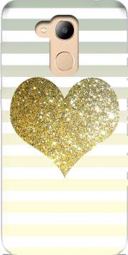 Sunny Gold Glitter Heart Case for Honor 6c Pro / Huawei V9 Play