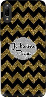 chevron gold and black - Je t'aime Papa Case for Huawei Y6 2019