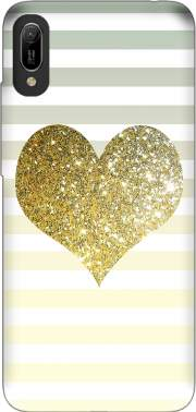 Sunny Gold Glitter Heart Case for Huawei Y6 2019