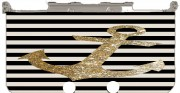 gold glitter anchor in black Case for New Nintendo 3DS