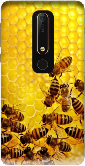 Case Bee in honey hive for Nokia 6.1