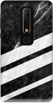 Black Striped Marble Case for Nokia 6.1