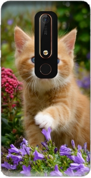 Cute ginger kitten in a flowery garden, lovely and enchanting cat Case for Nokia 6.1