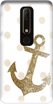 Glitter Anchor and dots in gold Case for Nokia 6.1