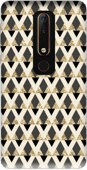Glitter Triangles in Gold Black And Nude Case for Nokia 6.1