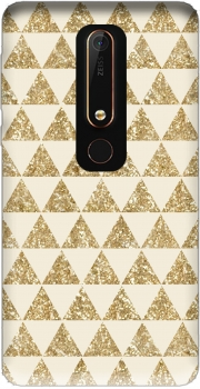 Glitter Triangles in Gold Case for Nokia 6.1