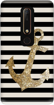 gold glitter anchor in black Case for Nokia 6.1