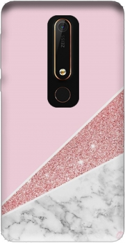 Initiale Marble and Glitter Pink Case for Nokia 6.1