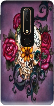 Skull Flowers Purple Case for Nokia 6.1