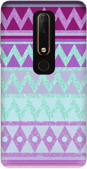 Tribal Chevron in pink and mint glitter Case for Nokia 6.1
