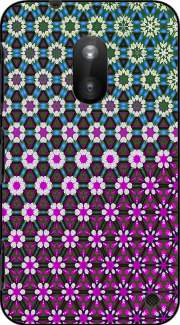 Abstract bright floral geometric pattern teal pink white Nokia Lumia 620 Case