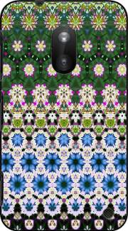Abstract ethnic floral stripe pattern white blue green Nokia Lumia 620 Case