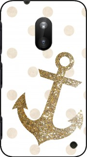 Glitter Anchor and dots in gold Case for Nokia Lumia 620