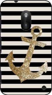gold glitter anchor in black Case for Nokia Lumia 620