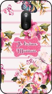 Pink floral Marinière - Je t'aime Maman Case for Nokia Lumia 620