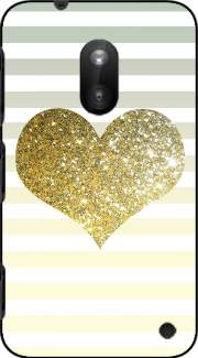 Sunny Gold Glitter Heart Case for Nokia Lumia 620