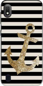 gold glitter anchor in black Case for Samsung Galaxy A10