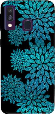 aqua glitter flowers on black Samsung Galaxy A40 Case