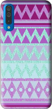 Tribal Chevron in pink and mint glitter for Samsung Galaxy A50