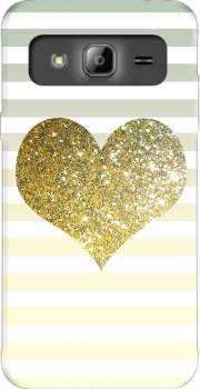 Sunny Gold Glitter Heart Case for Samsung Galaxy J3