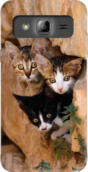 Three cute kittens in a wall hole Case for Samsung Galaxy J3