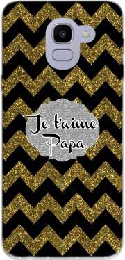 chevron gold and black - Je t'aime Papa Case for Samsung Galaxy J6 2018