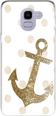 Glitter Anchor and dots in gold Case for Samsung Galaxy J6 2018