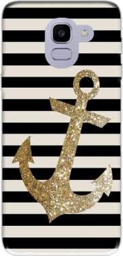 gold glitter anchor in black for Samsung Galaxy J6 2018