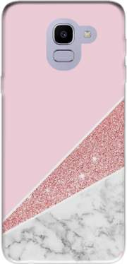 Initiale Marble and Glitter Pink Case for Samsung Galaxy J6 2018