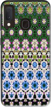 Abstract ethnic floral stripe pattern white blue green for Samsung Galaxy A20E