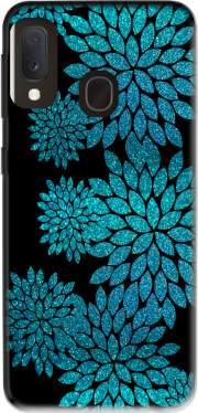 aqua glitter flowers on black Samsung Galaxy A20E Case