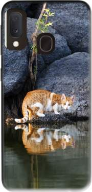 Cat Reflection in Pond Water Case for Samsung Galaxy A20E