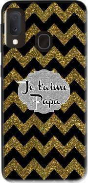 chevron gold and black - Je t'aime Papa Case for Samsung Galaxy A20E