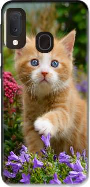 Cute ginger kitten in a flowery garden, lovely and enchanting cat Case for Samsung Galaxy A20E
