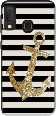 gold glitter anchor in black Case for Samsung Galaxy A20E