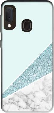 Initiale Marble and Glitter Blue Case for Samsung Galaxy A20E