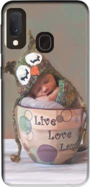Painting Baby With Owl Cap in a Teacup Case for Samsung Galaxy A20E