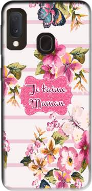 Pink floral Marinière - Je t'aime Maman for Samsung Galaxy A20E