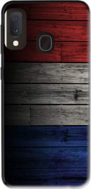 Wooden French Flag Case for Samsung Galaxy A20E