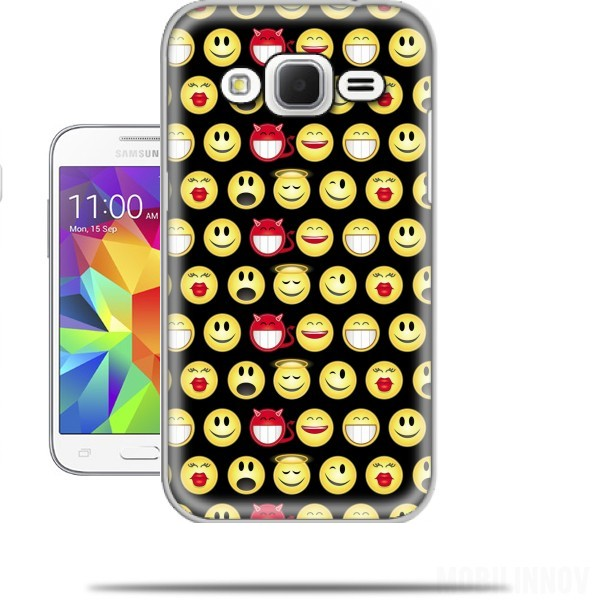 funny smileys samsung galaxy core prime case wallet case. Black Bedroom Furniture Sets. Home Design Ideas
