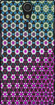 Abstract bright floral geometric pattern teal pink white Sony Ericsson Xperia S HD Case