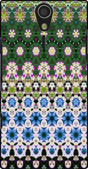 Abstract ethnic floral stripe pattern white blue green Sony Ericsson Xperia S HD Case