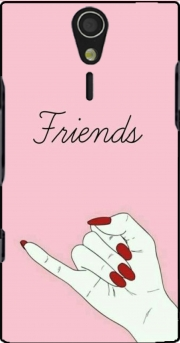 BFF Best Friends Pink Friends Side Case for Sony Ericsson Xperia S HD