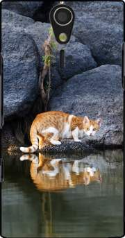 Cat Reflection in Pond Water Sony Ericsson Xperia S HD Case