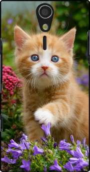 Cute ginger kitten in a flowery garden, lovely and enchanting cat Case for Sony Ericsson Xperia S HD