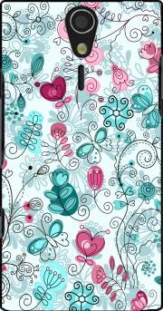 doodle flowers and butterflies Case for Sony Ericsson Xperia S HD