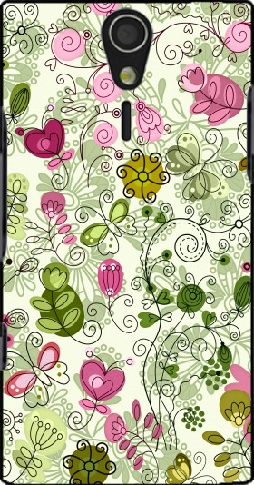 Case doodle flowers for Sony Ericsson Xperia S HD