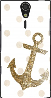 Glitter Anchor and dots in gold Case for Sony Ericsson Xperia S HD